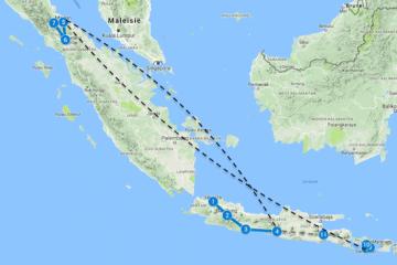 Reisroute Sumatra Java Bali