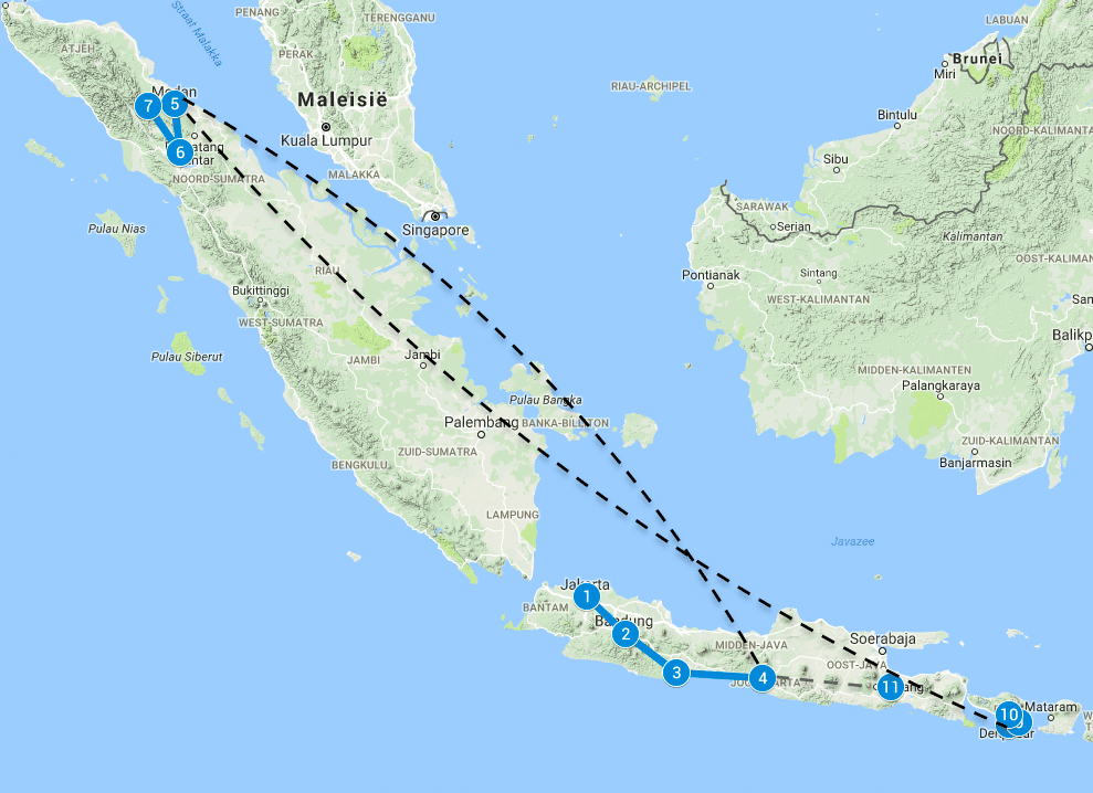 Backpack route Sumatra Java Bali