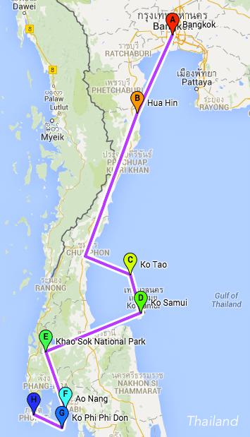 Route thailand - Backpacken van noord naar zuid