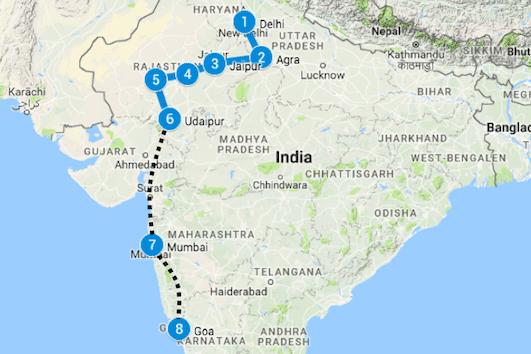 route india noord naar zuid