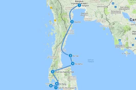 route noord zuid thailand