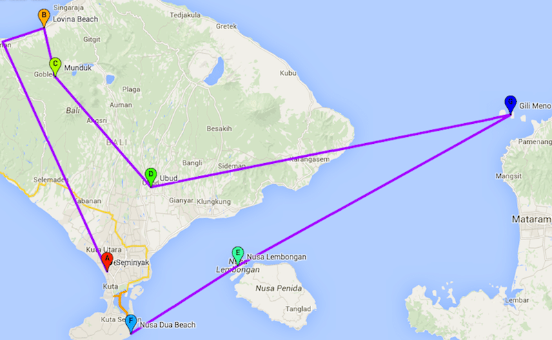 Backpack route Bali 15 tot 21 dagen