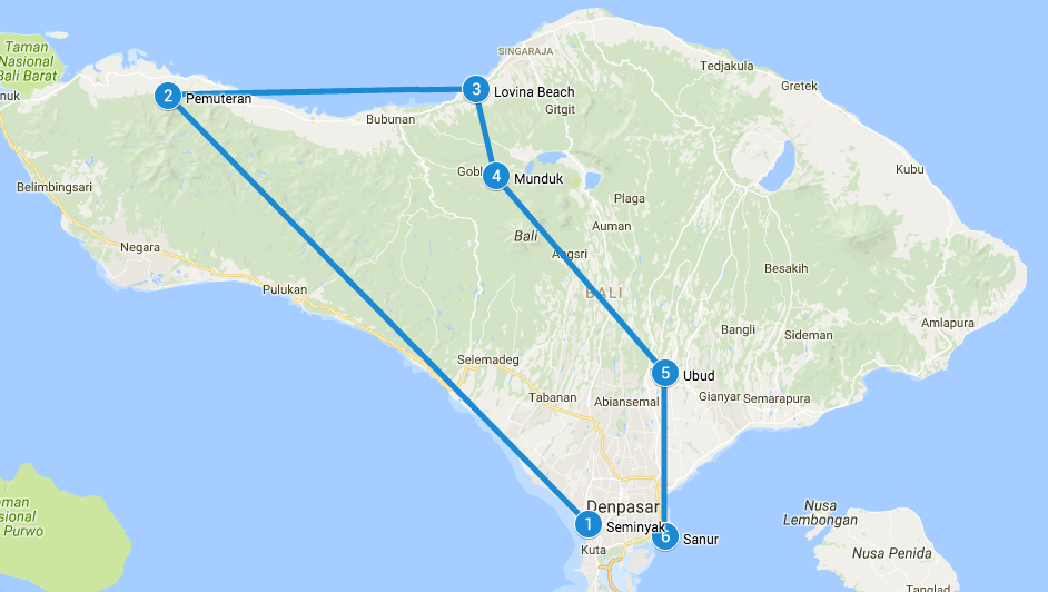 Backpack route Bali
