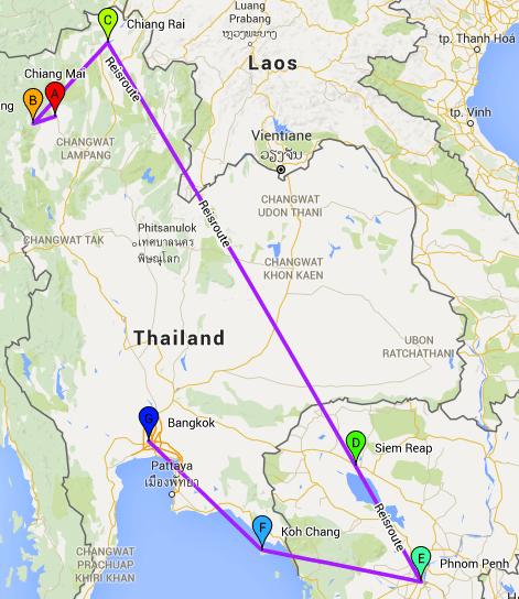 backpack route Thailand en Cambodja