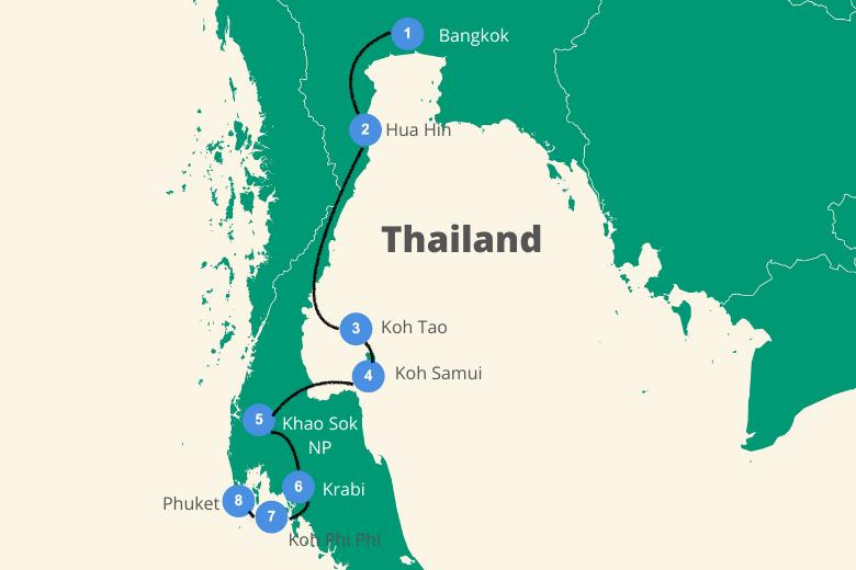 Eilandhoppen Thailand route