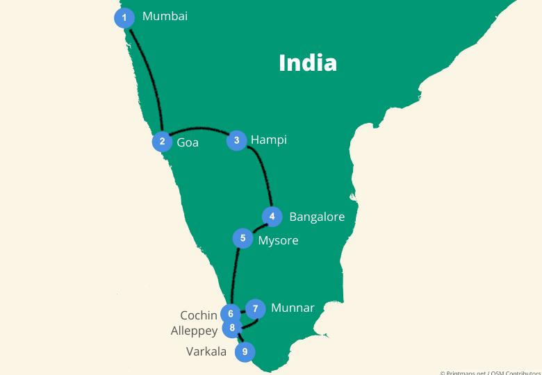 India reisroute zuid