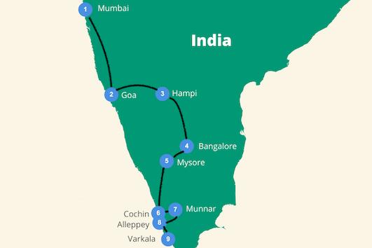 India route zuiden backpacken