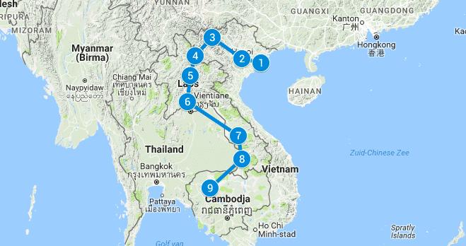 Route Vietnam, Laos en Cambodja