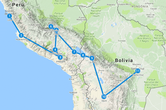 backpack route peru bolivia