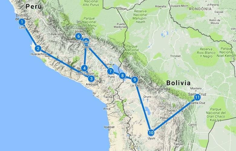 Backpack route Peru en Bolivia