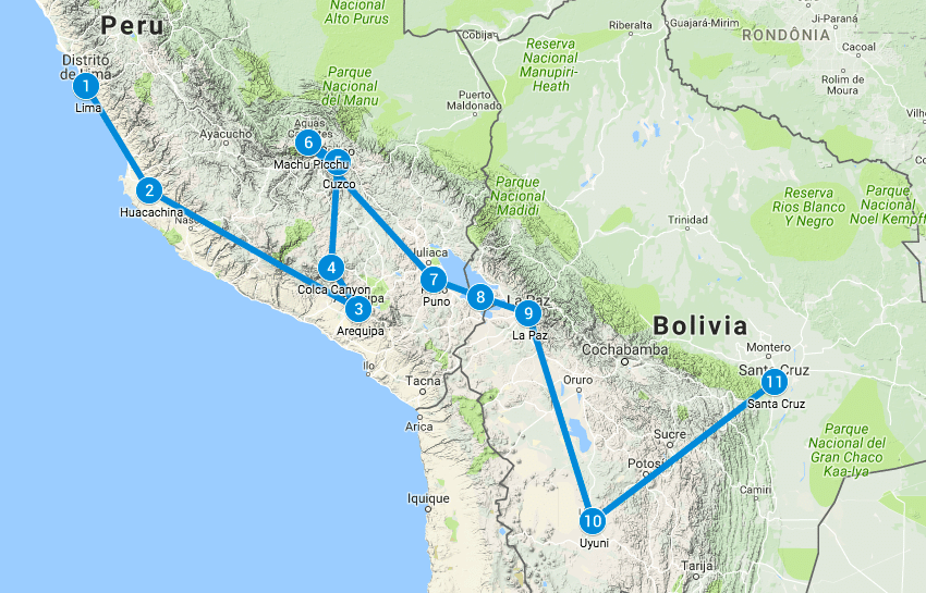 Backpack route Peru en Bolivia
