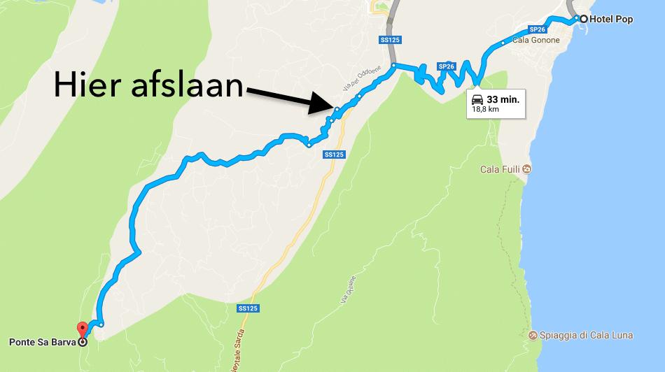 Route naar Ponte Sa Barva
