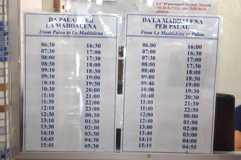 Tijden veerboot Palau Maddalena
