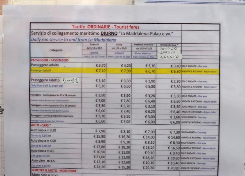 kosten boot La Maddalena Sardinie