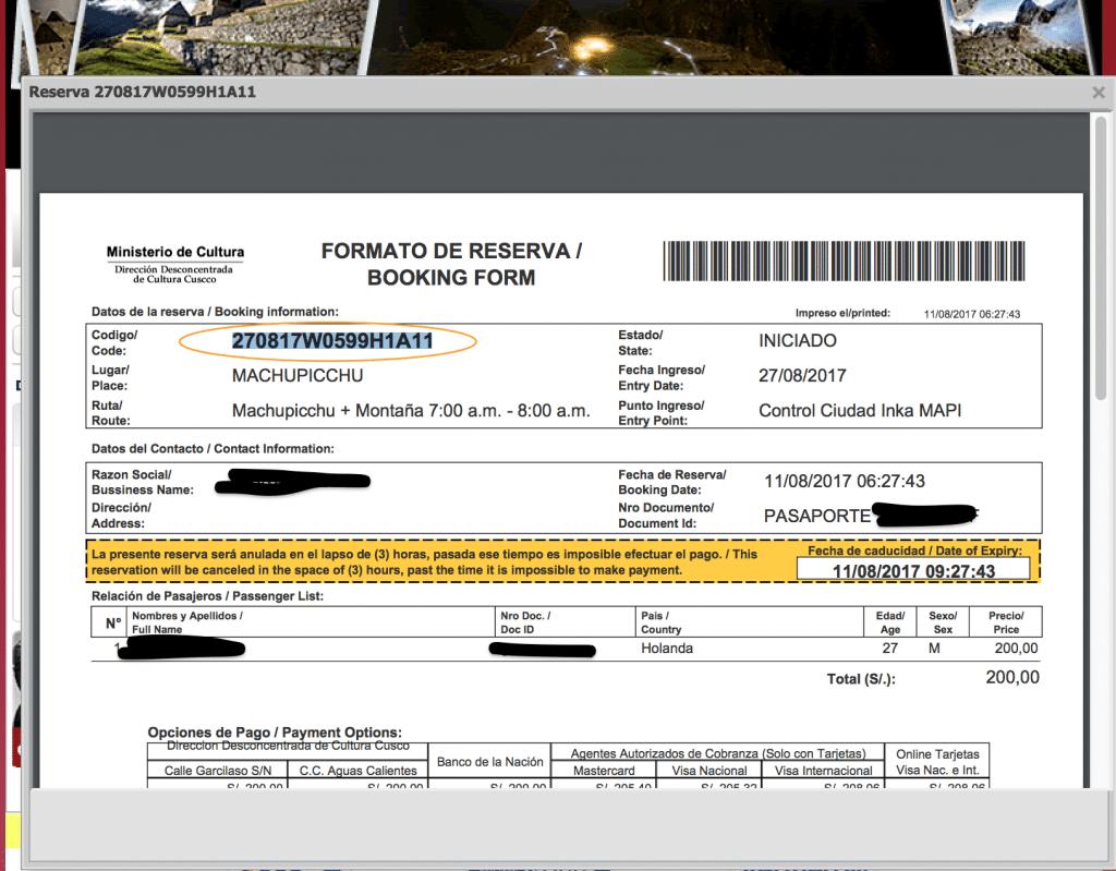 tickets boeken Machu Picchu