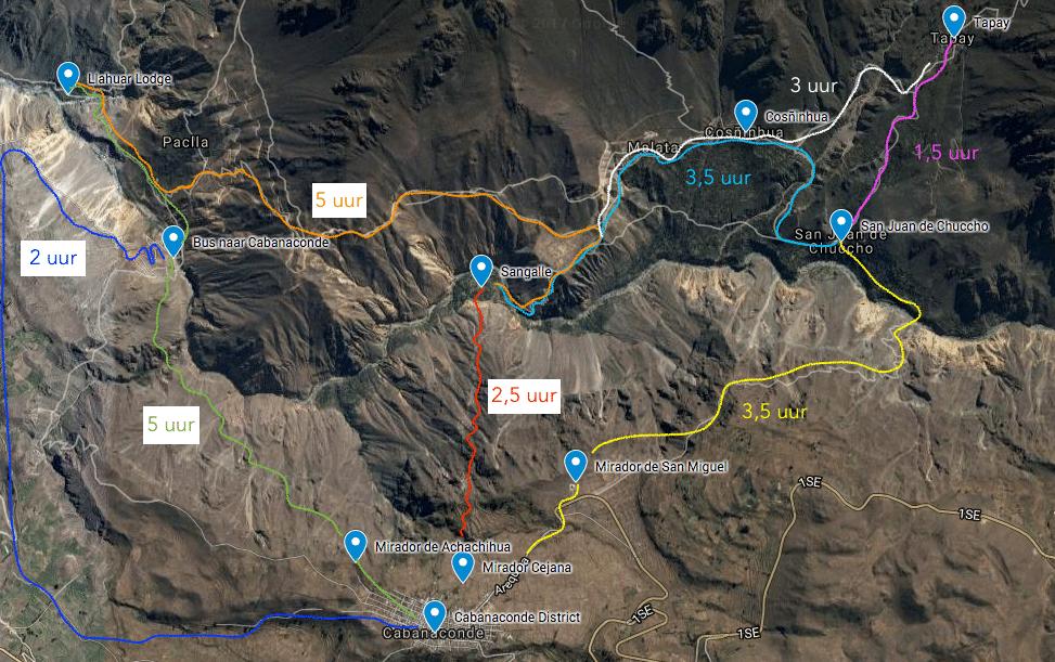 Map Colca Canyon routes - Kaart