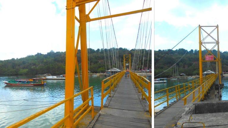 Gele brug Nusa Lembongan en Nusa Ceningan