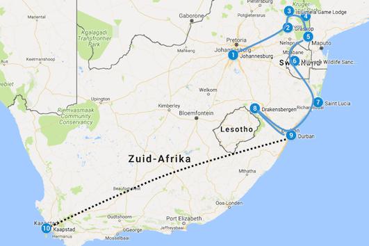 Route Johannesburg naar Kaapstad