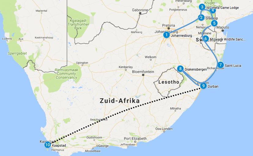 Route Zuid Afrika autorondreis