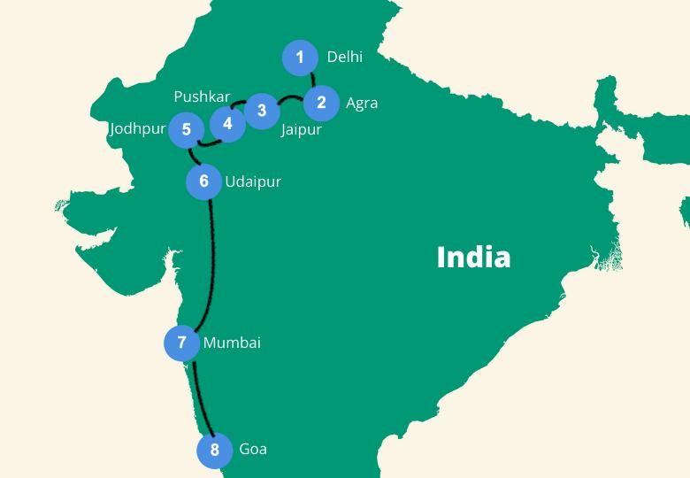 Route india 3 tot 4 weken