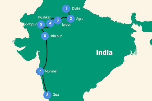 backpack Route india 3 tot 4 weken
