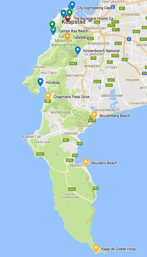 Kaart bezienswaardigheden Kaapstad