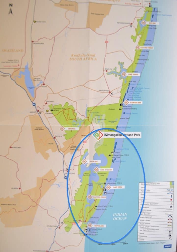 Kaart isimangaliso park