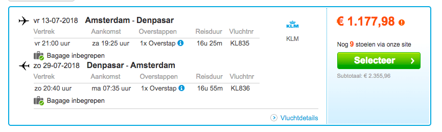 Vliegtickets Bali KLM