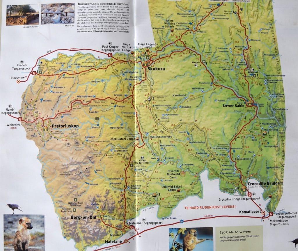 Krugerpark kaart wegen (Zuiden)