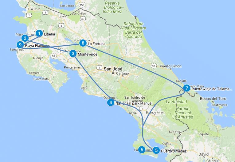 Mooie route Costa Rica 3 weken