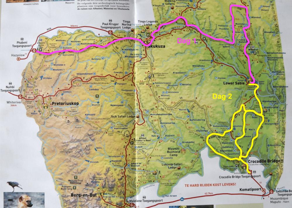 Route 2 dagen Krugerpark