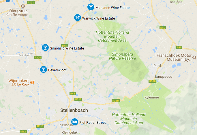 Wijnhuizen Stellenbosch route