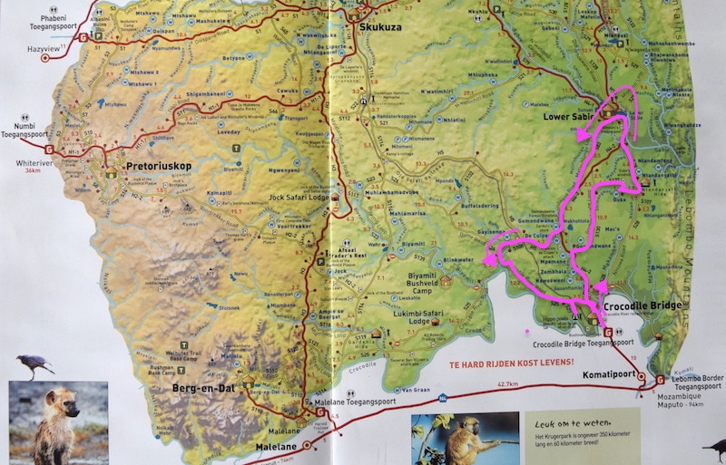 leuke route Krugerpark map