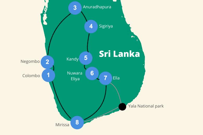 Sri Lanka backpack route