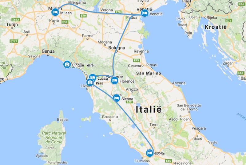 Milaan naar Rome auto route Italie