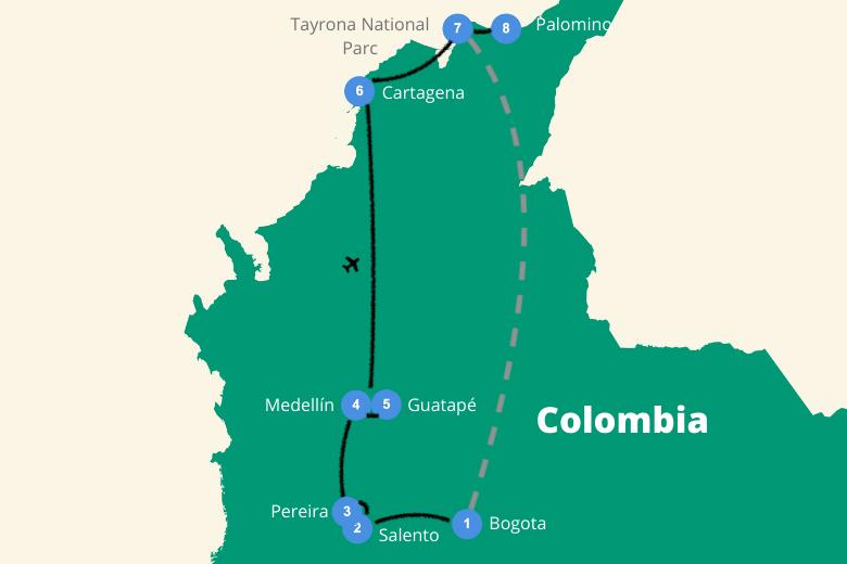 Reisroute Colombia 2 tot 3 weken