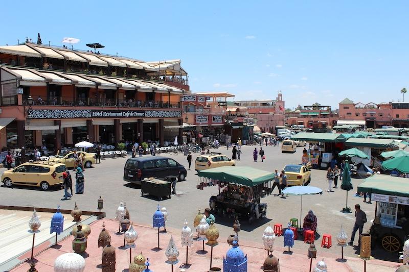 uitzicht lunch Jemaa El Fna-plein plein