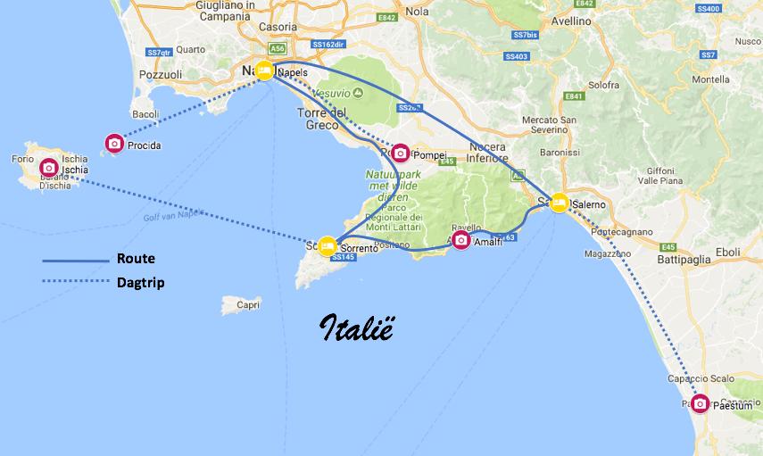 Route Amalfikust Zuid-Italië