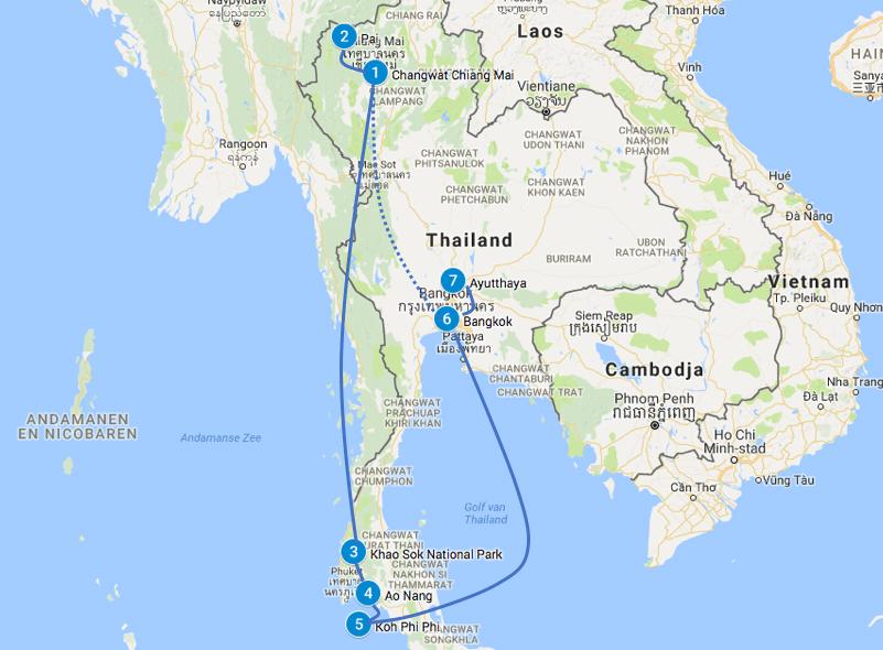 Thailand Route Noord en zuid