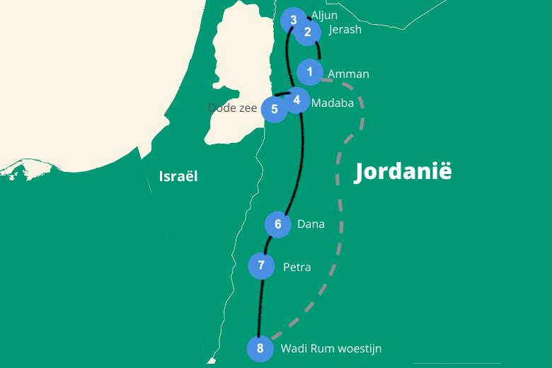 Jordanie roadtrip route