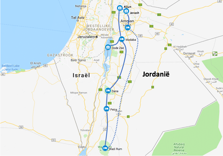 Route Jordanië roadtrip