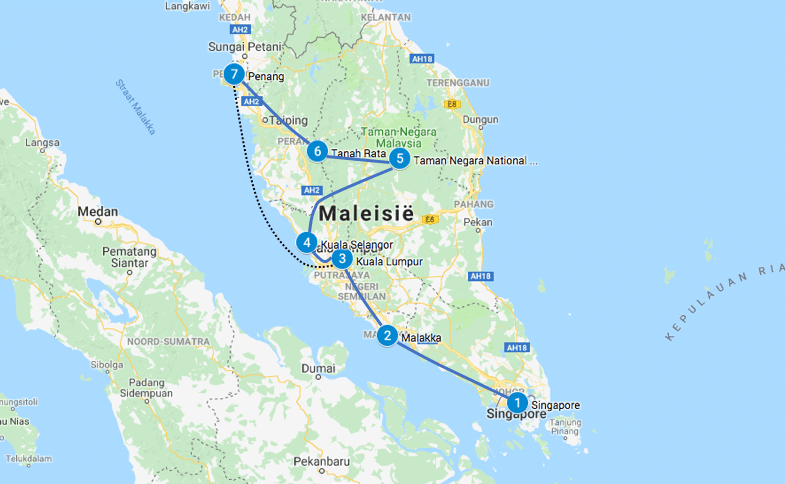 backpack route maleisie en singapore
