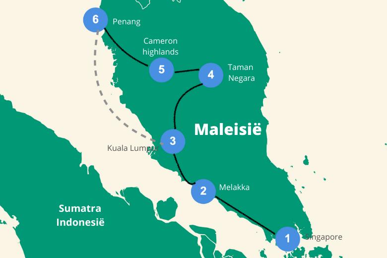 route maleisie en singapore