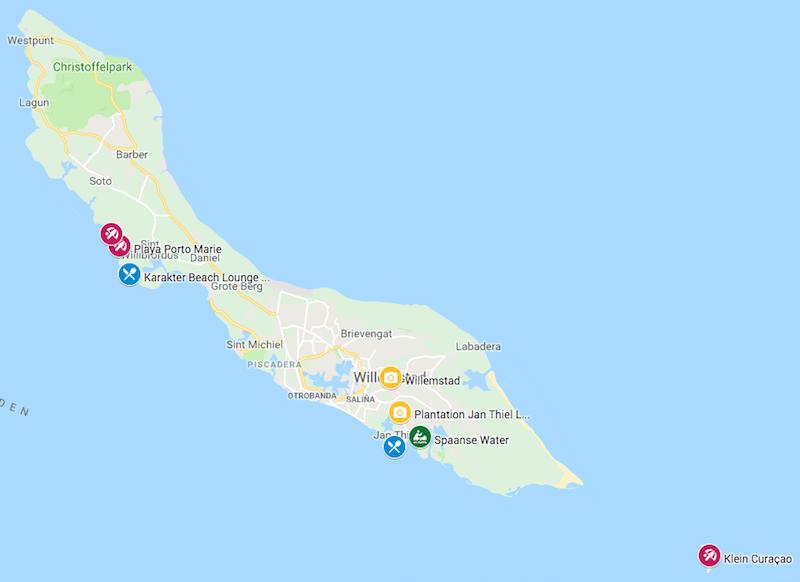 highlights curacao kaart