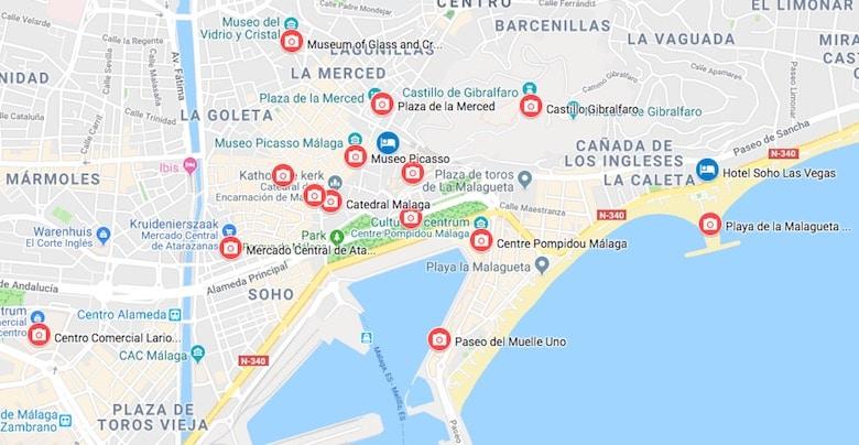 Malaga bezienswaardigheden kaart