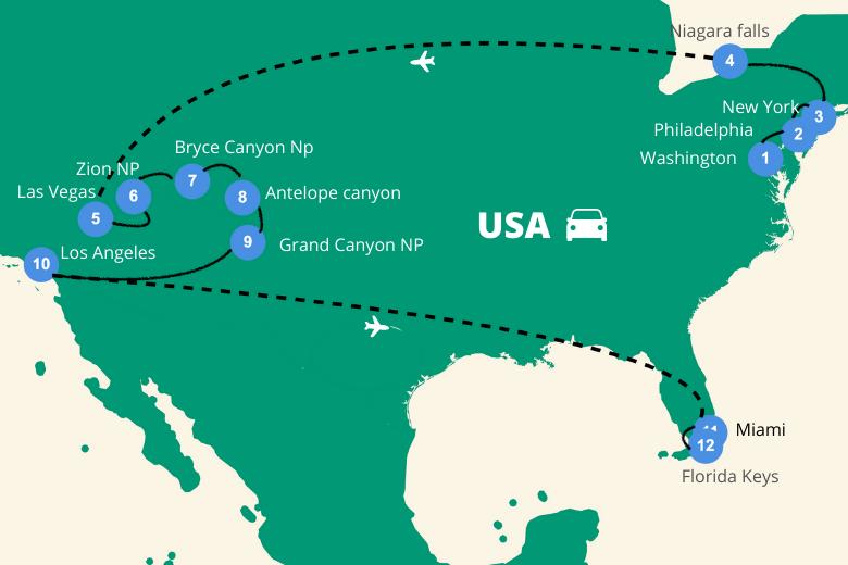 Roadtrip Amerika 3 weken route