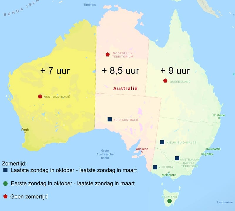 Tijdsverschil Australië