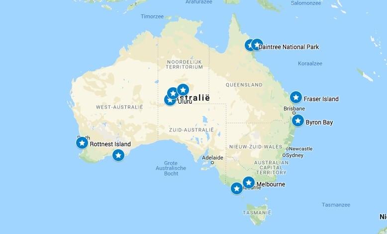 australie highlights en bezienswaardigheden kaart