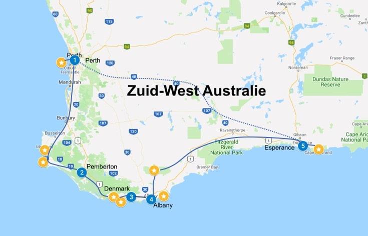 zuid west australie route 2 weken