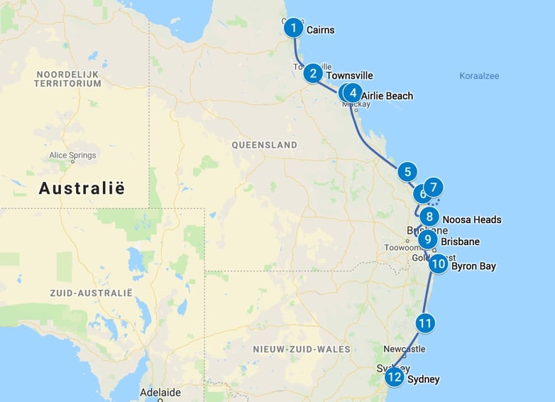 Backpack route Australie
